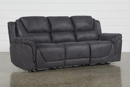 Denver Dark Grey Power Reclining Sofa With Power Headrest