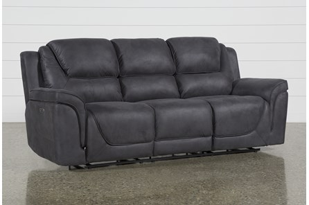 Denver Dark Grey Power Reclining Sofa With Power Headrest - Main
