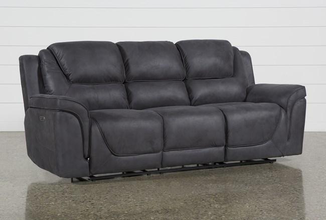 Denver Dark Grey Power Reclining Sofa With Power Headrest - 360
