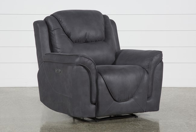 Denver Dark Grey Power Recliner With Power Headrest - 360