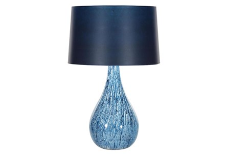 Table Lamp-Blue Swirl With Blue Shade