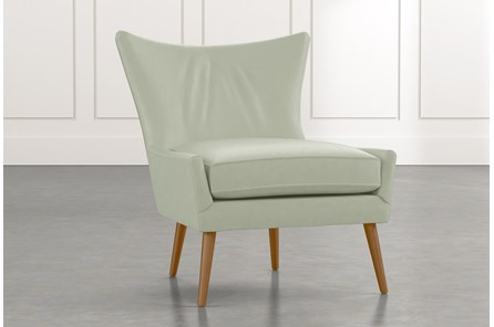 Tate II Light Green Leather Accent Chair