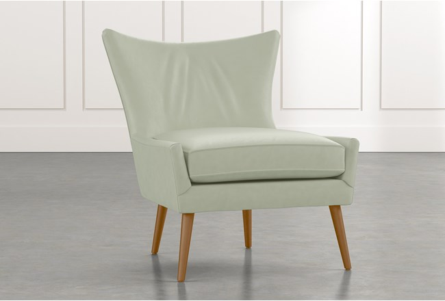 Tate Ii Light Green Leather Accent Chair Living Spaces