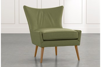 Tate II Dark Green Leather Accent Chair