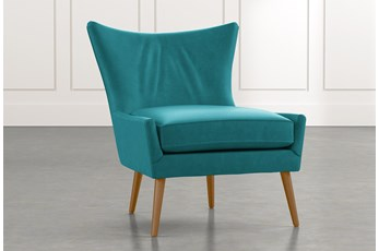 Tate II Teal Leather Accent Chair