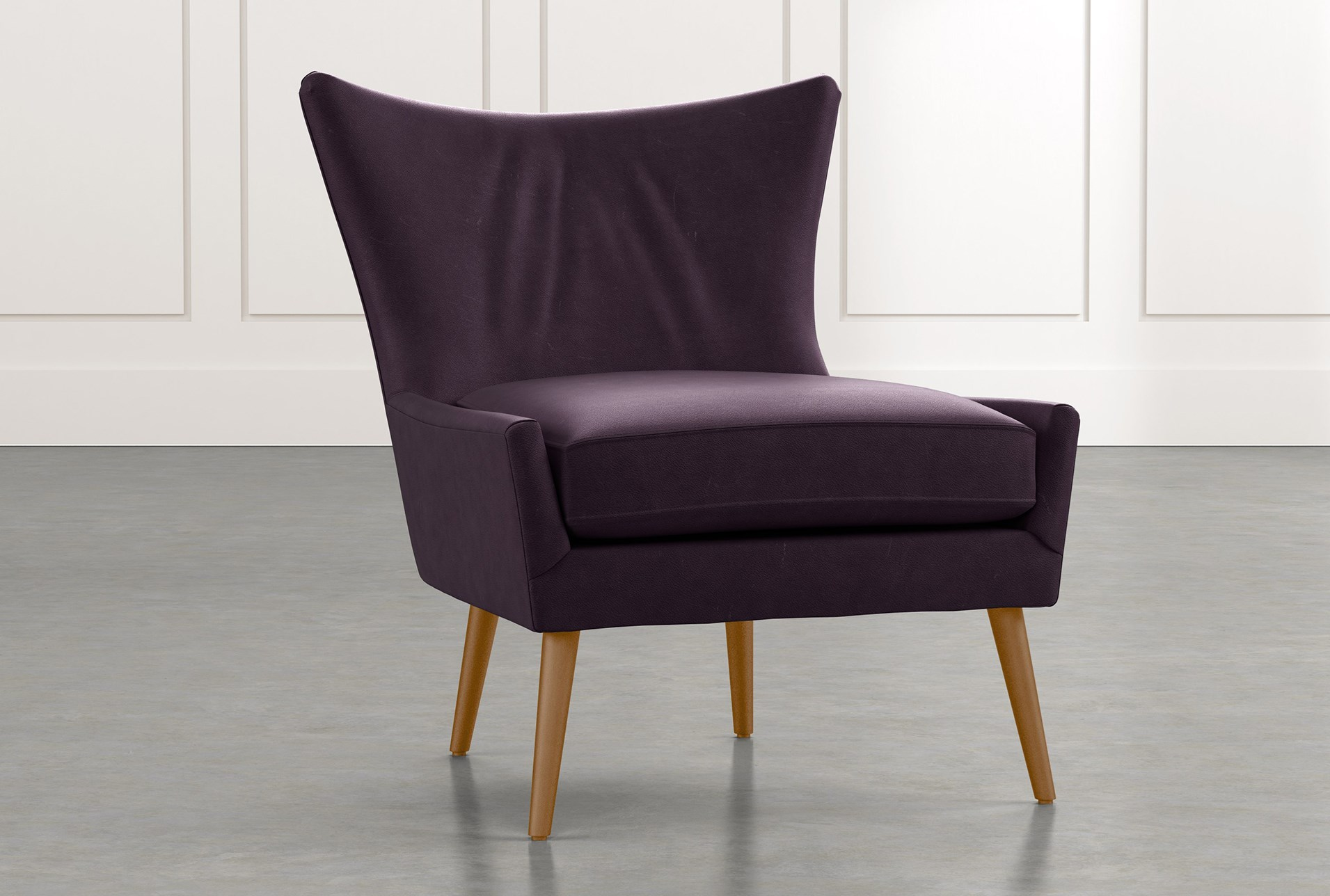Tate II Purple Leather Accent Chair | Living Spaces