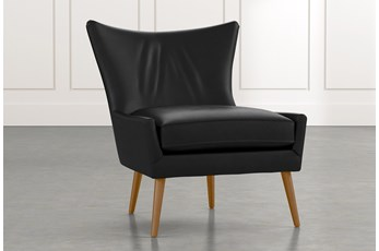 Tate II Black Leather Accent Chair