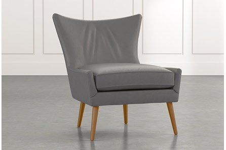 Tate II Dark Grey Leather Accent Chair
