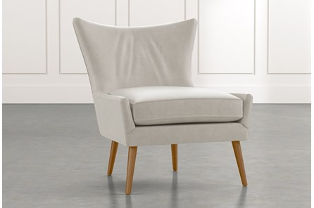 Tate II Light Grey Leather Accent Chair