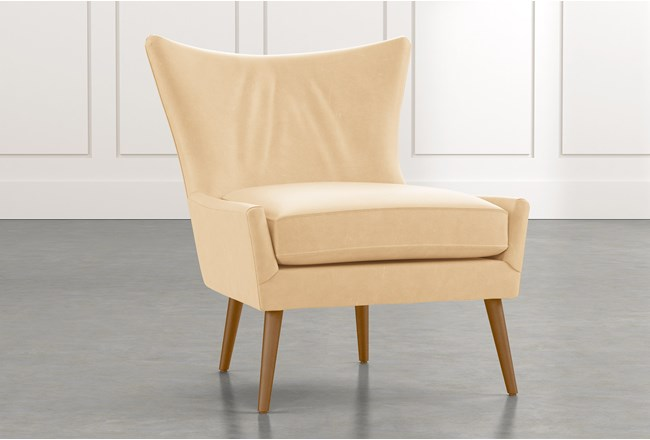 Tate Ii Beige Leather Accent Chair Living Spaces