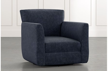 Revolve Navy Blue Swivel Accent Chair