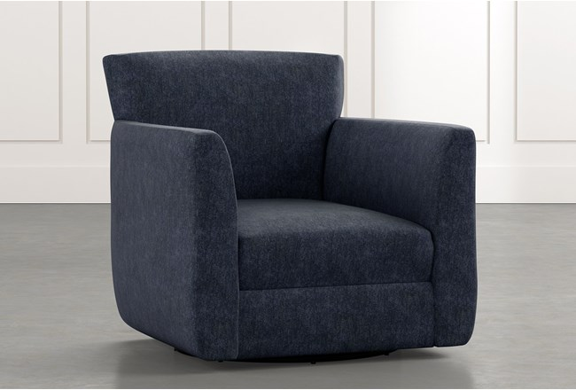 Revolve Navy Blue Swivel Accent Chair - 360