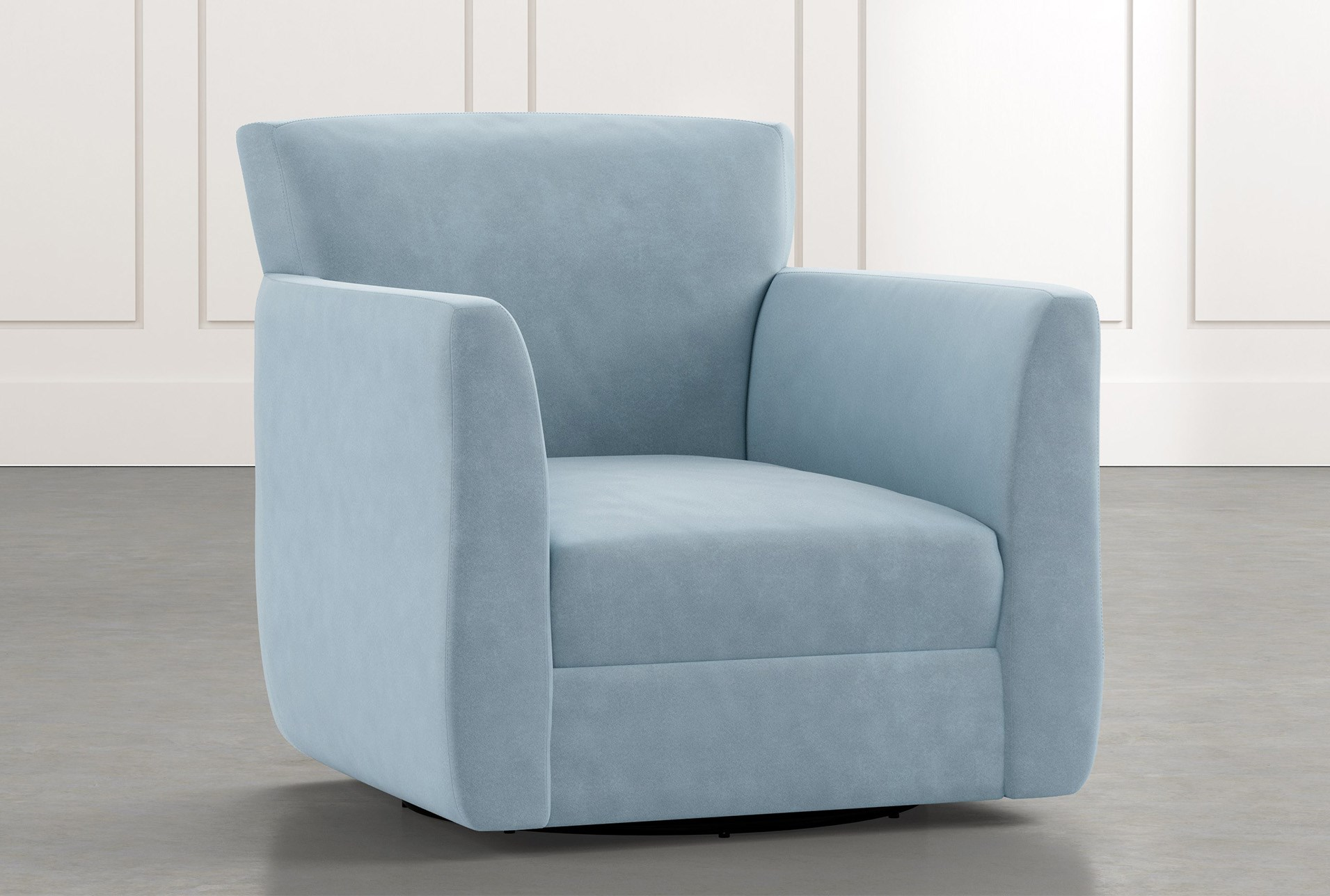 Revolve Light Blue Swivel Accent Chair Living Spaces