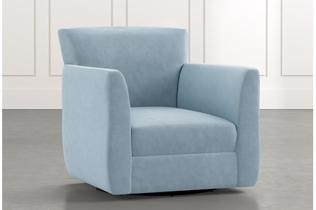 Revolve Light Blue Swivel Accent Chair