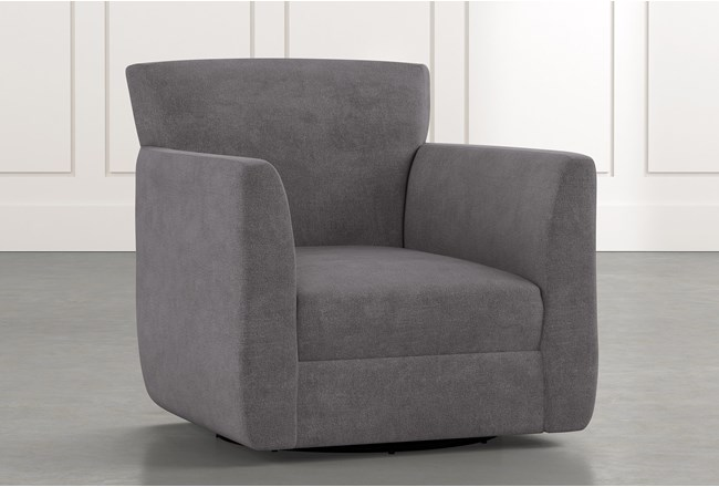Revolve Dark Grey Swivel Accent Chair Living Spaces