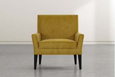 Brooke II Yellow Velvet Accent Chair