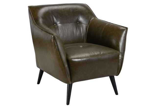 Brown Leather Accent Chair - 360