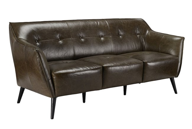 Brown Leather 3 Seater Sofa - 360