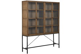 Oak Wood & Iron Large Curio Cabinet