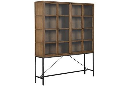 Oak Wood & Iron Large Curio Cabinet - Main