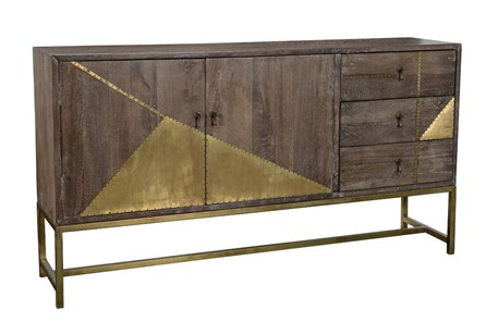 Dark Brown Geo Sideboard With Brass Inlay