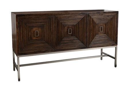 Dark Brown 3 Dimensional 3 Door Sideboard
