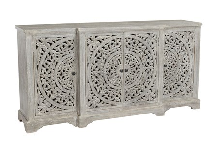Mango Wood 4 Door Distressed White Sideboard