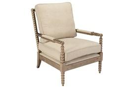 Beige Linen And Oak Wood Club Chair