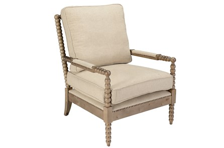 Beige Linen And Oak Wood Club Chair