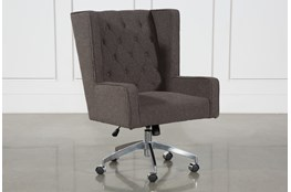 Grey Tufted Swivel Desk Chair