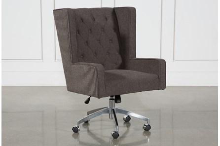 Grey Tufted Swivel Desk Chair