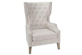 Tall Tufted Grey Club Chair