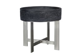 Mango Wood Round Grey End Table