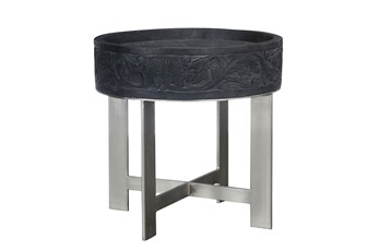 Mango Wood Round Grey End Table