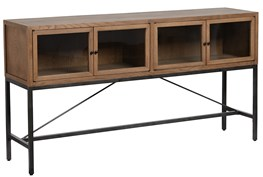 Oak Wood And Iron Brown Sofa Table