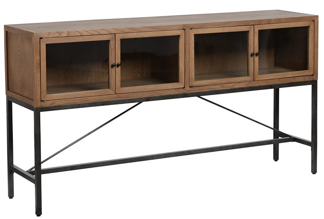 Oak Wood And Iron Brown Sofa Table - 360