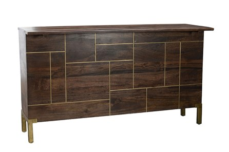 Dark Wood Bar With Brass Inlay