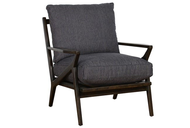 Menswear Blue Striped Accent Chair - 360