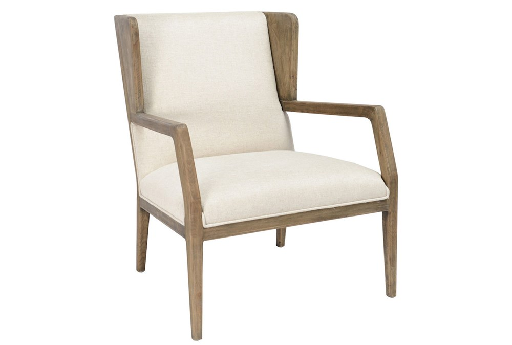 Beige With Natural Oak Wood Accent Chair
