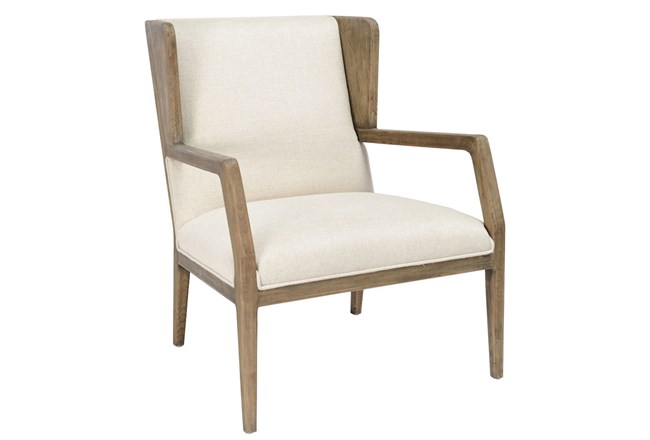 Beige With Natural Oak Wood Accent Chair - 360