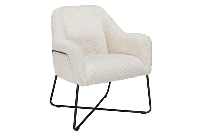 Sherpa White Accent Chair - 360