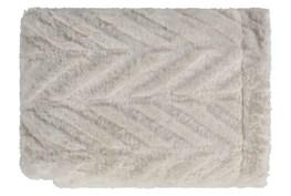 Accent Throw-Ivory Fur Chevron