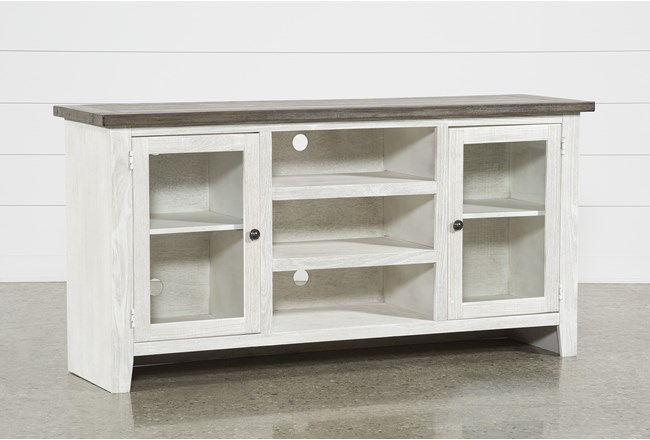 Dixon White 65 Inch Tv Stand With Glass Doors - 360