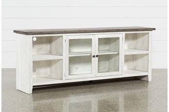 Dixon White 84 Inch TV Stand With Glass Doors