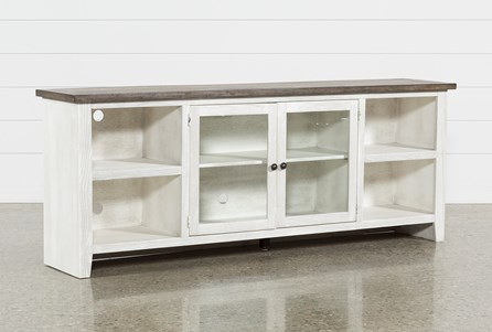 Dixon White 84 Inch TV Stand With Glass Doors - Main