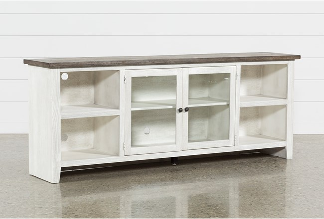 Dixon White 84 Inch TV Stand With Glass Doors - 360