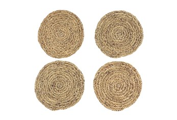 Set Of 4 Assorted Light Woven Round Placemat