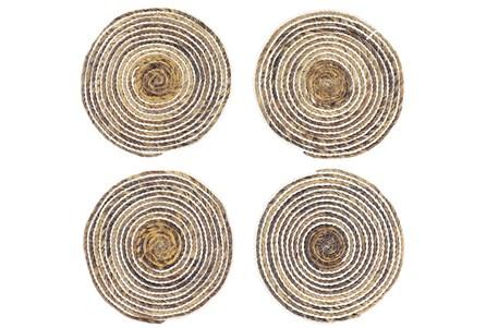 Set Of 4 White Wash Round Placemat