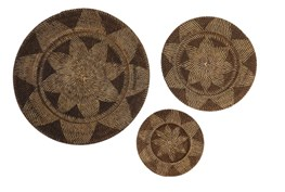 Set Of 3 Dark Wicker Wall Baskets