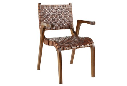 Teak Brown Leather Chair